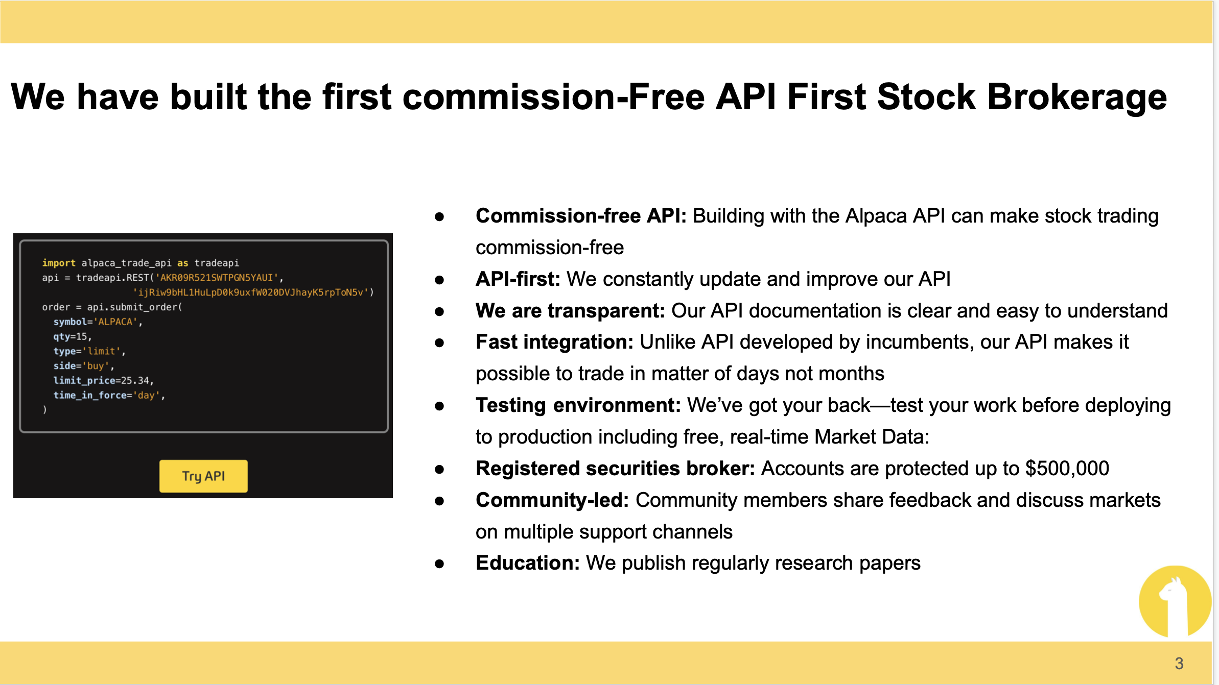 Alpaca API and features