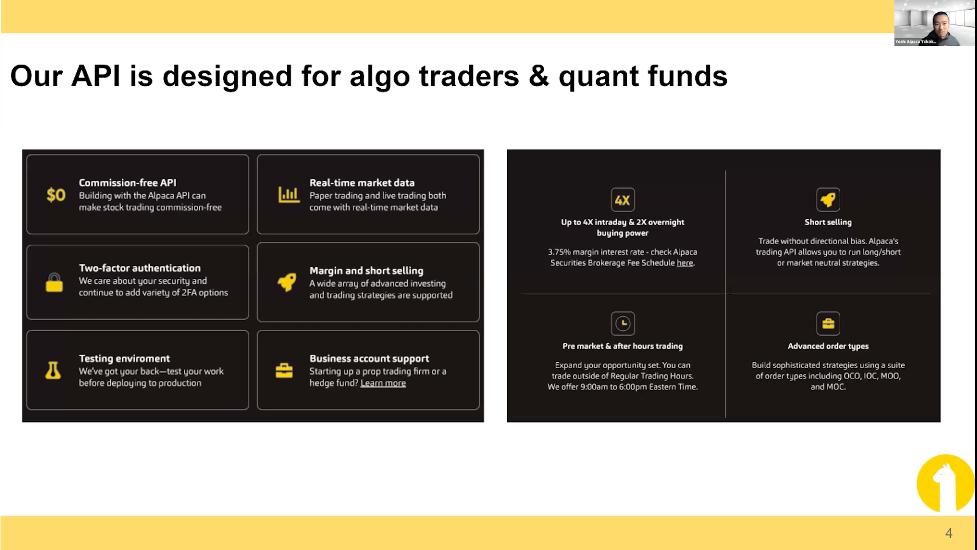 Alpaca API features