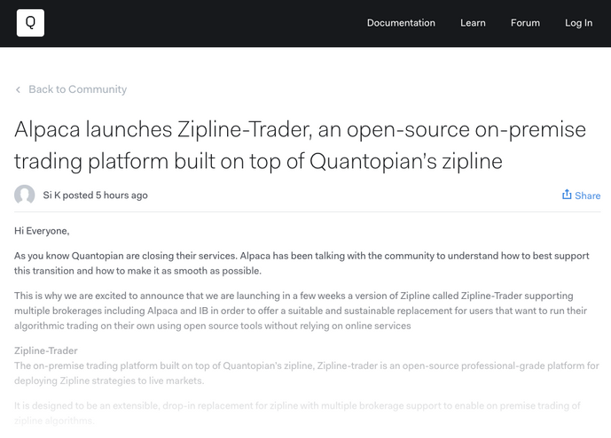 For Quantopian Community to Migrate: OSS On-Premise Platform Built on Quantopian's Zipline